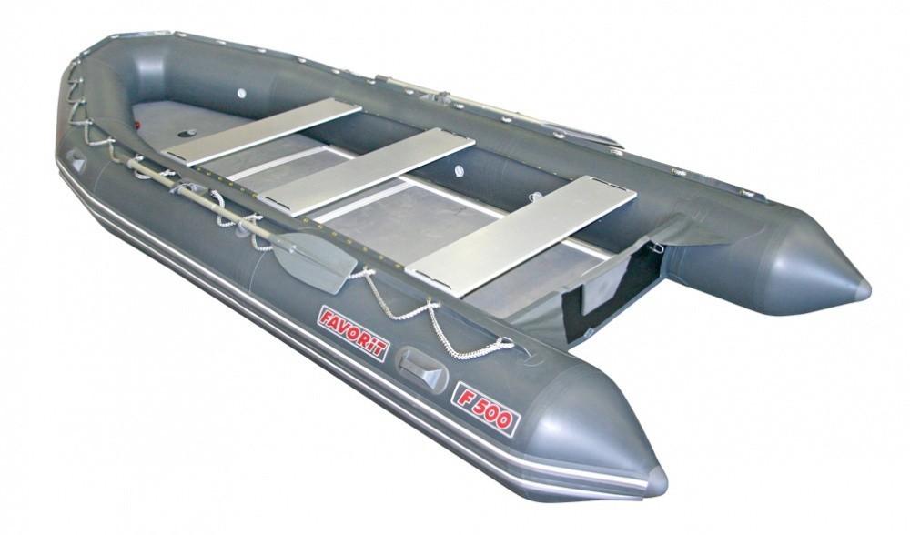 Надувная ПВХ лодка «Фаворит F-500»(Цвет: Серый)