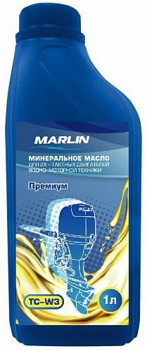 Масло минеральное MARLIN Премиум 2Т, TC-W3, 1 литр