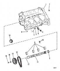 Схема Блок цилиндров и распределительный вал