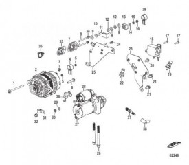 Схема Electrical Components Starter, Alternator, and Coil Bracket