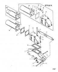 Схема Выхлопной коллектор / коленчатый патрубок (Система MerCruiser)