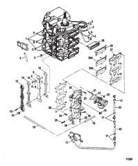 Схема Впуск и рецирк. топлива (Сер. номера от 0E023150 до 0E066619)