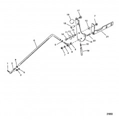 Схема Тяга водометного механизма (С/н 0G157845 и ниже)
