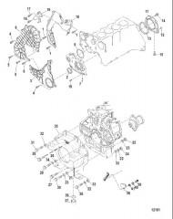 Схема Распределительная крышка и корпус маховика (ПОВОРОТНО-ОТКИДНАЯ КОЛОНКА)