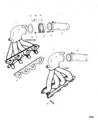 Схема Выпускной коллектор/выводящая труба глушителя (Сер. номера от 0K000012 до 0L415623)
