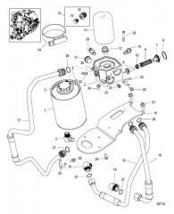 Масляный фильтр и резервуар для охлаждающей жидкости (0M971884 и ниже)