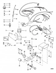 Схема ЭЛЕКТРИЧЕСКИЕ КОМПОНЕНТЫ (МОДУЛЬ ЗАЖИГАНИЯ СМОНТИРОВАННЫЙ НА ВЫХЛОПНОМ КОЛЕНЧАТОМ ПАТРУБКЕ)