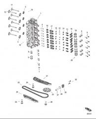 Схема Головка цилиндра и распределительный вал