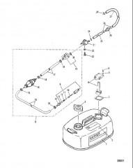 Схема ТОПЛИВНЫЙ БАК И ТОПЛИВОПРОВОДЫ (ОРИГИНАЛЬНЫЙ)(14 ЛИТРОВ)
