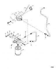 Схема Топливный насос и топливный фильтр (Сер. номера от 0A398941 до 0D725499)
