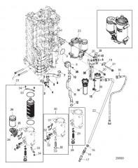 Блок цилиндров правого борта/Маслоохладитель (1B830815 и ниже)