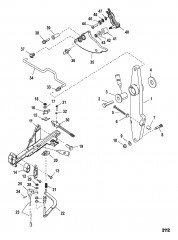 Рычаг газа и шток механизма переключения передач (С/н 0T818235 и выше)