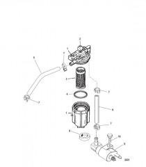 Схема Топливный фильтр в сборе (USA-1B153167/BEL-0P360020 и ниже)