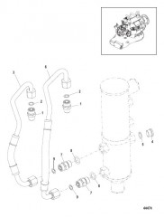 Схема Маслопроводы трансмиссионного масла Без коробки отбора мощности
