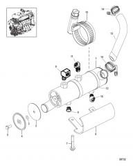 Схема Охладитель рулевого механизма с усилителем в сборе
