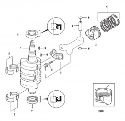 Crankshaft, Pistons and Connecting Rods 0R310614 and Below