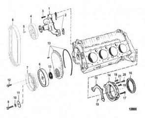 Схема Водяной насос и передняя крышка