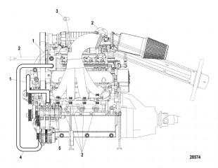 Схема Охлаждение (Водяные шланги и фитинги – левый борт)