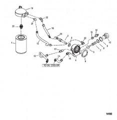 Схема Масляный фильтр и шланги (Сер. номера D725460, F306920 и выше)