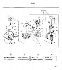 Схема НАСОС/ДВИГАТЕЛЬ (РЕЗЕРВУАР С НИЖНИМ КРЕПЛ.)(КОНСТРУКЦИЯ I – 14336A8)