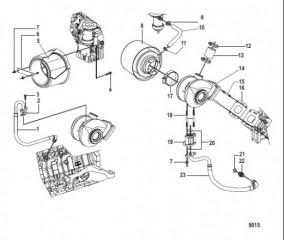Схема Турбонагнетатель и воздушный фильтр в сборе