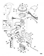 Схема Компоненты системы зажигания (Сер. номера от 0E023150 до 0E033710)