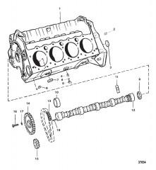 Схема БЛОК ЦИЛИНДРОВ И РАСПРЕДЕЛИТЕЛЬНЫЙ ВАЛ (350 КУБ. ДЮЙМ. ПЛОСКИЕ ТОЛКАТЕЛИ)