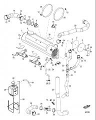 Схема Охлаждение пресной водой Теплообменник V-привода