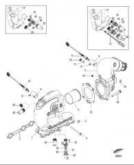 Схема Выхлопной коллектор и коленчатый патрубок V-привод