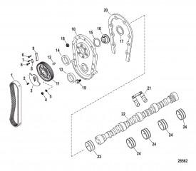 Схема Компоненты двигателя (Передняя крышка и распределительный вал)
