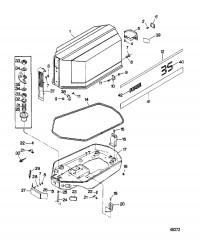Крышка двигателя и опорная пластина