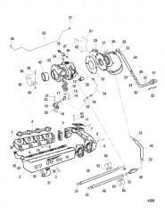 Схема Выхлопной коллектор и турбонагнетатель (Продолжение)