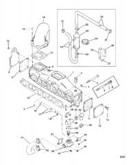 Схема Выхлопной коллектор и водяная система