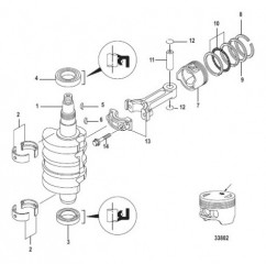 Схема Crankshaft, Pistons and Connecting Rods