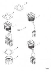 Схема Комплект переключателя пуска/останова – установка заподлицо