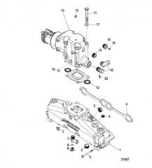 Схема Выхлопной коллектор Коленчатый патрубок и трубы (ручной слив)