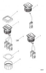 Схема Комплект переключателя пуска/останова– панельное крепление