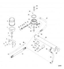 Схема Маслоохладитель и масляный фильтр (Двигатель)