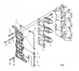 Схема Впускной коллектор и блок с пластинчатыми клапанами