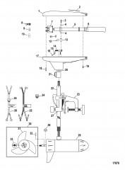 Двигатель для тралового лова в сборе (Модель T36) (12 В)