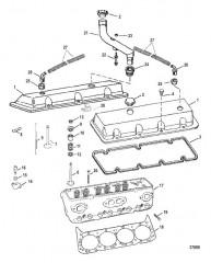 Схема ГОЛОВКА ЦИЛИНДРА И КРЫШКА КОРОМЫСЛА (454 MAGNUM)