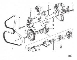 Схема Водяной насос и передняя отделка