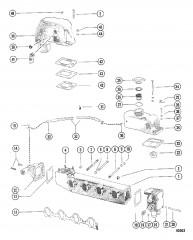 Схема Выхлопной коллектор и коленчатый патрубок (MCM)