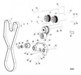 Компоненты двигателя (Приводной ремень) (с 0M957032 по 0M960972)