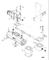 Схема Выхлопной коллектор и выхлопной коленчатый патрубок 357 Alpha/Bravo