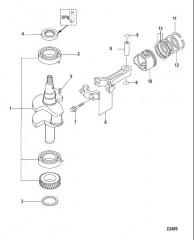 Схема Коленчатый вал, поршень и шатун