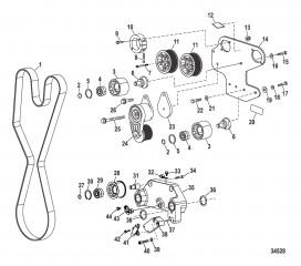Компоненты двигателя (Приводной ремень) (0M961118 и выше)
