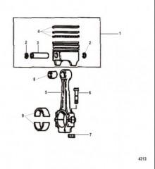 Схема Шатун Поршень и связанные детали