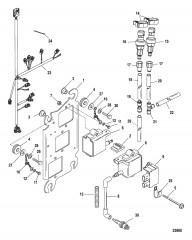 Схема Пластина катушки в сборе Серийный номер 1B490865 и ниже