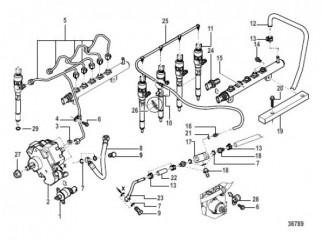 Схема Впрыск топлива Насос, направляющие, трубы и форсунка